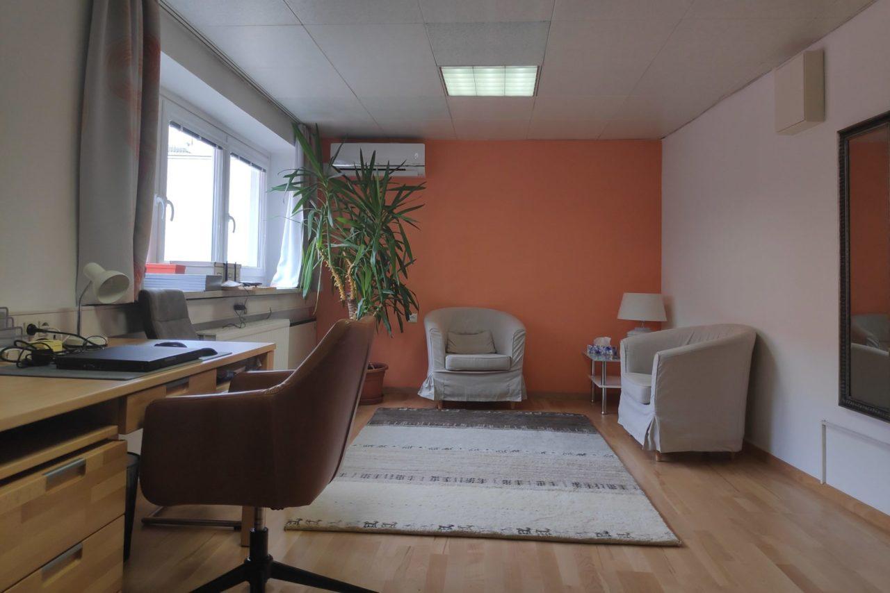 Praxis in Wiener Neustadt mit Sitzecken, Schreibtisch, Pflanzen und Fenster.